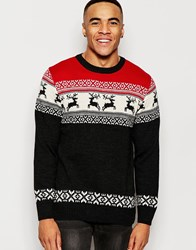 Vacant Deer Fair Isle Knitted Christmas Jumper Red