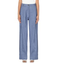 Anglomania Wide Leg Stretch Cotton Trousers Blue
