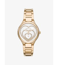 Lainey Pave Heart Gold Tone Watch