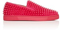 Christian Louboutin Men's Roller Boat Suede Slip On Sneakers Fuschia
