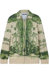 Moschino Printed Satin Jersey Track Jacket Green