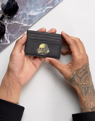 Asos Leather Card Holder With Skull Print Black
