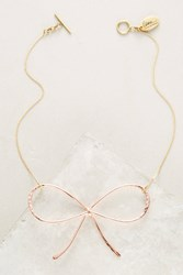 Anthropologie Rose Bow Necklace Gold