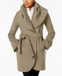 T Tahari Marla Shawl Collar Wrap Coat Brown Sugar