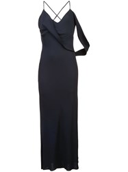Michelle Mason Draped Cowl Midi Dress Black