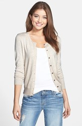 Halogen Women's Three Quarter Sleeve Cardigan Heather Oatmeal