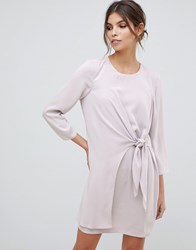 Asos Design Knot Front Mini Shift Dress With Long Sleeves Grey