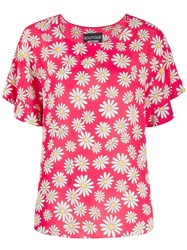 Boutique Moschino Floral Short Sleeve Blouse Red