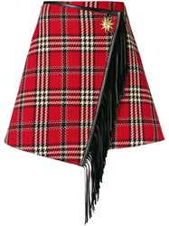 Fausto Puglisi Checked Mini Skirt Red