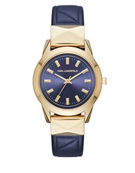 Karl Lagerfeld Labelle Goldtone Stainless Steel And Leather Watch Navy Gold