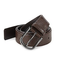 A. Testoni Nido Ape Textured Leather Belt Nero