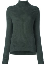 P.A.R.O.S.H. Roll Neck Ribbed Pullover Green