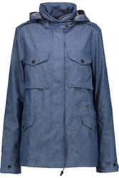 Rag And Bone Chambray Hooded Jacket Mid Denim