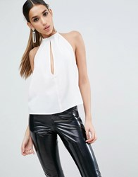 Asos Tie Neck Halter Top With Deep Plunge White