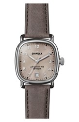 Shinola The Guardian Leather Strap Watch 36Mm Grey Nude Pink Silver