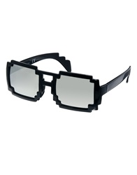 Asos Sunglasses With Pixel Effect Frame And Mirror Lens Black