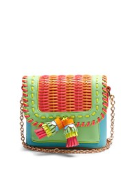 Sophia Webster Claudie Woven Leather Cross Body Bag Green Multi