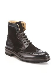 Saks Fifth Avenue Leather And Suede Wingtip Boots Brown