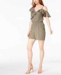 Bar Iii One Shoulder Flounce Romper Created For Macy's Dusty Olive