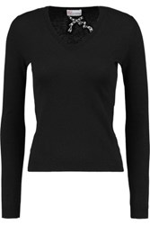 Red Valentino Redvalentino Cashmere And Silk Blend Sweater Black
