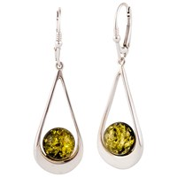Be Jewelled Sterling Silver Tear Drop Earrings Green Amber