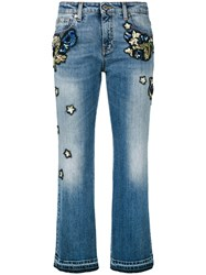 Roberto Cavalli Embroidered Cropped Jeans Women Cotton Polyester Spandex Elastane 40 Blue