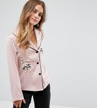 Glamorous Petite Pyjama Shirt With Contrast Piping And Floral Embroidery Pink
