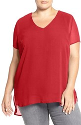 Vince Camuto Plus Size Women's Sheer V Neck Blouse With Knit Underlay Vivid Flame