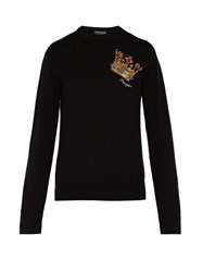 Dolce And Gabbana Crown Embroidered Virgin Wool Sweater Black