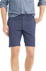 J.Crew Paisley Stretch Cotton Shorts Deep Baltic