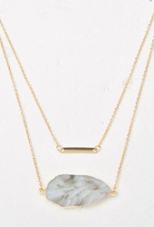 Forever 21 Layered Faux Geode Necklace Gold Green