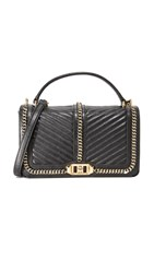 Rebecca Minkoff Chevron Quilted Cross Body Bag Black