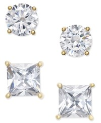 Giani Bernini 2 Pc. Set Crystal Stud Earrings In 18K Gold Plated Sterling Silver Only At Macy's Yellow Gold