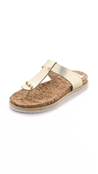 Tory Burch Cork Footbed Flat Thongs Gold