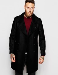 Noose And Monkey Double Breasted Wool Overcoat Black