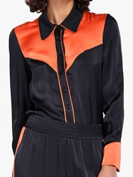 Ghost Amelia Contrast Panel Piped Blouse Charcoal Orange