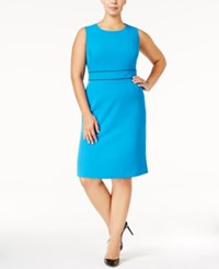 Kasper Plus Size Banded Waist Dress Azure