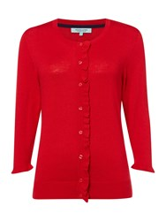 Dickins And Jones Cardigan With Frill Detail Red