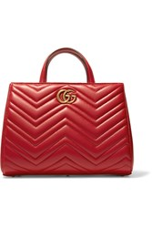 Gucci Gg Marmont Quilted Leather Tote Red