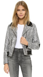 Veda Print Leather Moto Jacket Black Abstract