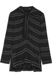 Proenza Schouler Knotted Tie Front Striped Crepe Top Black