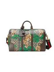 Gucci Bengal Gg Supreme Duffle Men Leather Canvas Metal Microfibre One Size Brown