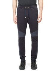 Balmain Colorblock Quilted Jogger Pants Navy