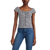 Barneys New York Gingham Cotton Button Front Blouse Wht.Andblk. Wht.Andblk.