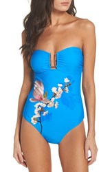 Ted Baker London Harmony Bandeau One Piece Swimsuit Bright Blue