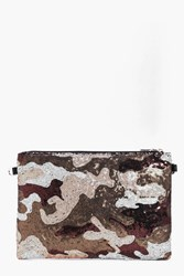 Boohoo Rachel Camo Sequin Clutch Bag Silver