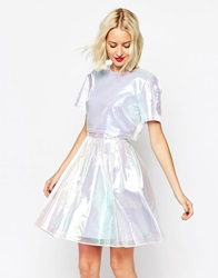 Asos Two Piece Holographic Skater Blue