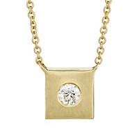 Tate Square Charm Necklace Gold