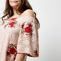 River Island Plus Light Pink Lace Embroidered Bardot Top