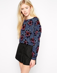 Girls On Film Top In Bold Floral Print Blue